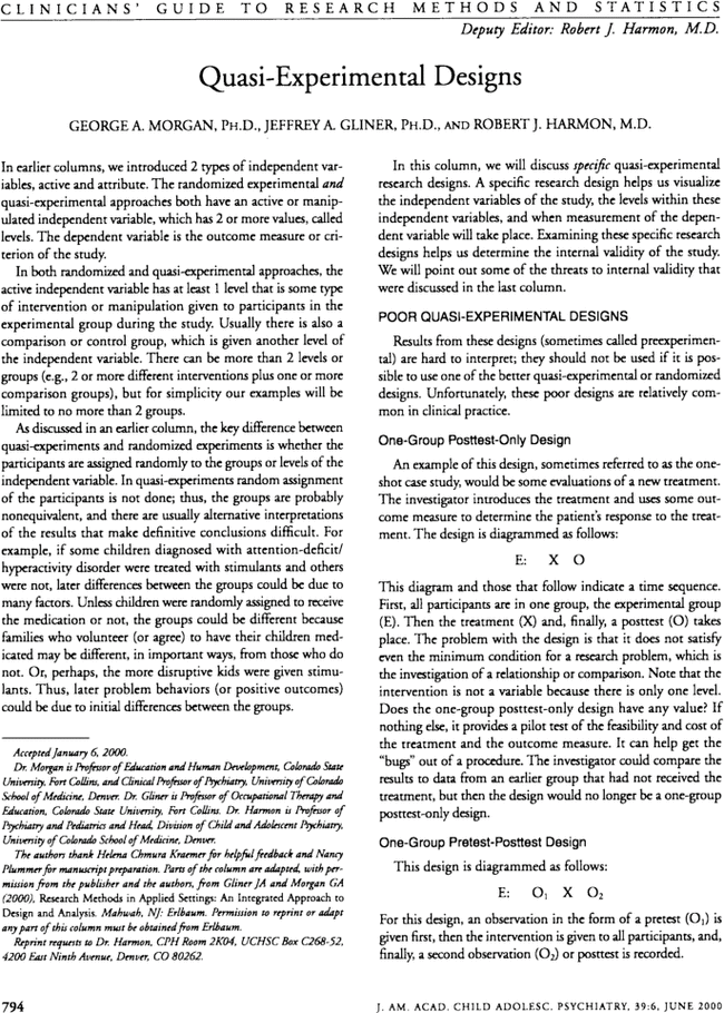 Quasi experimental designs journal of the american academy of first page of article publicscrutiny Choice Image