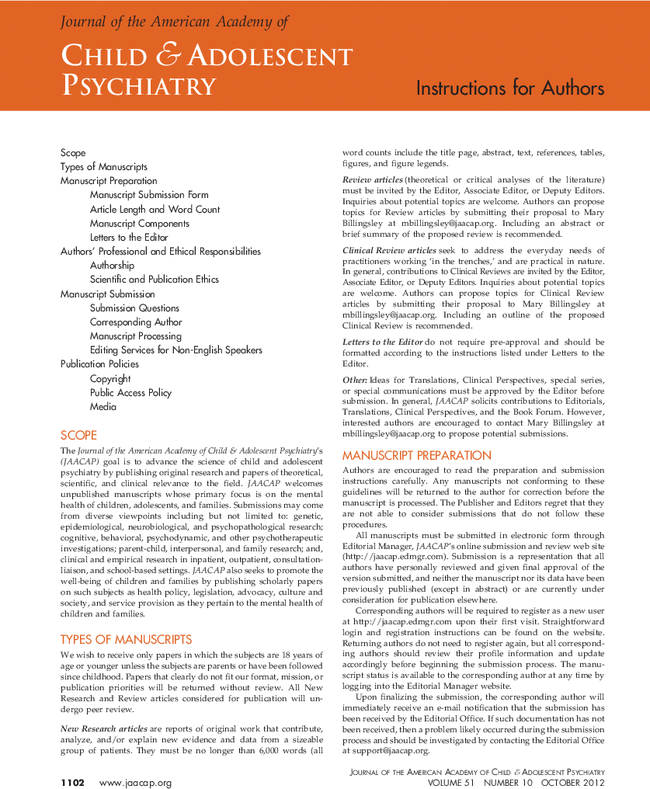 Instructions For Authors Journal Of The American Academy Of Child